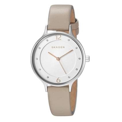women's casual watch with tan band