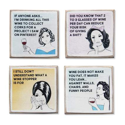 snarky wine coasters