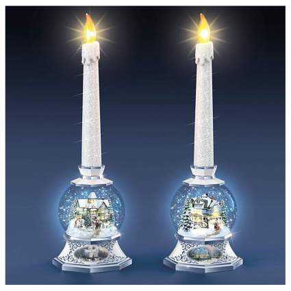 snow globe candle sticks with flameless candles