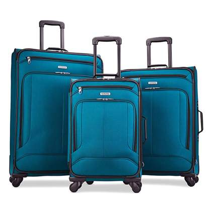 softside three piece spinner luggage set