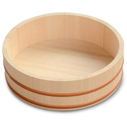 Wooden bowl for mixing sushi rice
