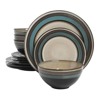 teal and cream stoneware set