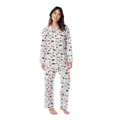 Woman in sushi pajamas