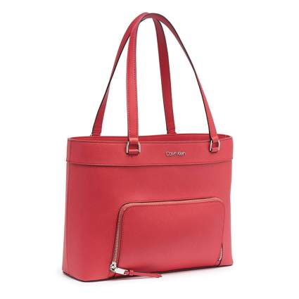watermelon leather tote bag