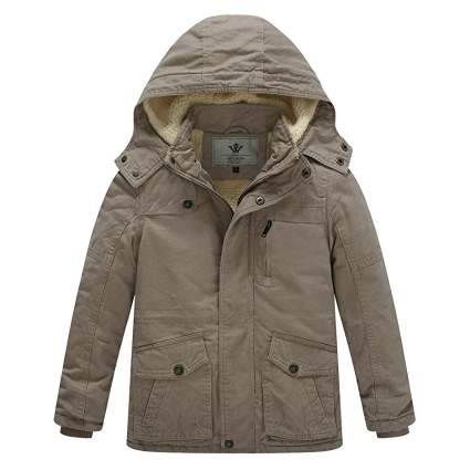 WenVen Winter Cotton Coat Heavy Hooded Parka Jacket