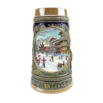 winter themed german beer stein