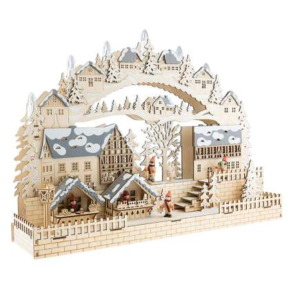 wooden christmas village decoration
