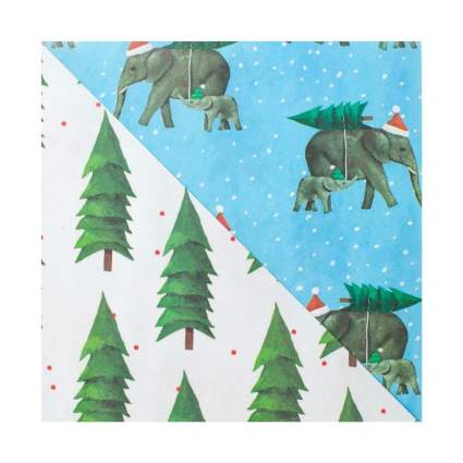Wrappily Christmas Elephants Reversible Holiday Wrapping Paper