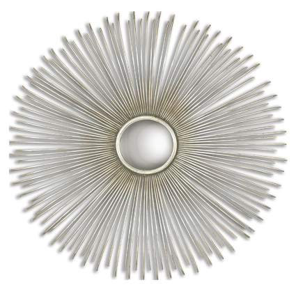 convex silver sunburst wall clock