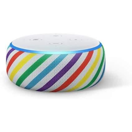 Rainbow striped Echo Dot device