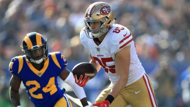 George Kittle DraftKings Saturday Night Showdown Week 16 Rams vs. 49ers