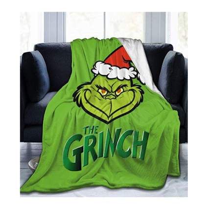 grinch fleece throw