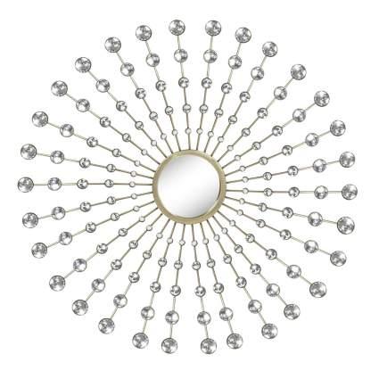crystal embellished sunburst mirror