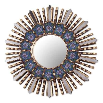 reverse painted blue floral sunburst mirror