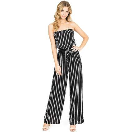 Ambiance Women's Juniors Nautical Tube Top Jumpsuit