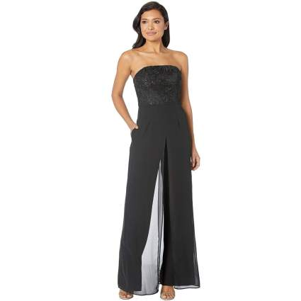Adrianna Papell Women's Embroidered Strapless Crepe Jumpsuit