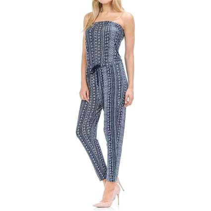 Shamaim Womens Print Jersey Tube Top Jumpsuit with String