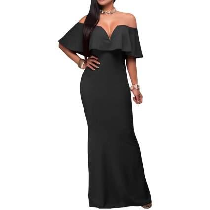 V Neck Ruffle Off Shoulder Evening Gown