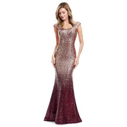 Ever-Pretty Gradual Champagne Sequin Gown