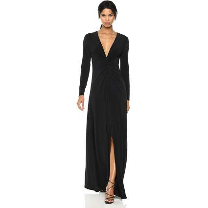 Halston Heritage Women's Long Sleeve V Neck Ruched Front Gown