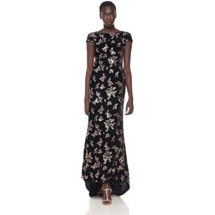 Calvin Klein Women's Cap-Sleeve Sequin Gown