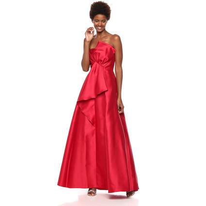 Adrianna Papell Women's Strapless Mikado Ball Gown with Bow Accent Dress