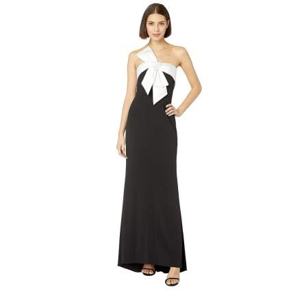Adrianna Papell Women's Knit Crepe Evening Gown with Bow Detail