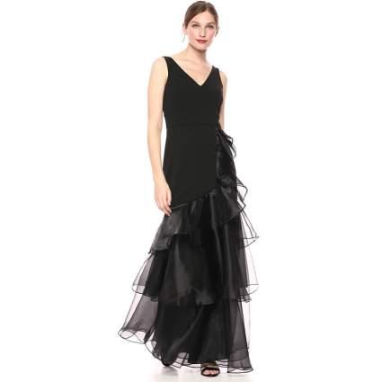 Calvin Klein Women's Sleeveless V-Neck Gown with Tiered Organza