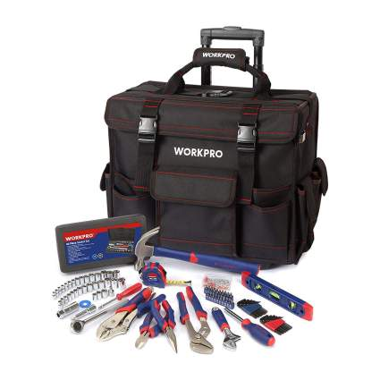 Black tool storage bag with tool set