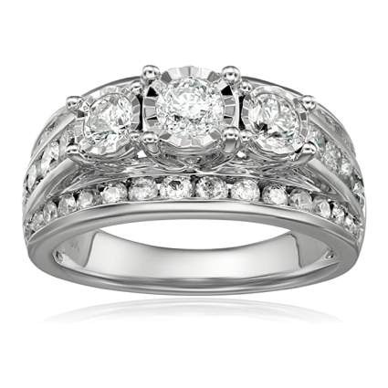 10kt White Gold 3-Stone Miracle Diamond Wedding Ring Set