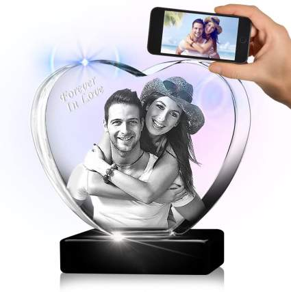 3D Crystal Picture in Engraved Heart