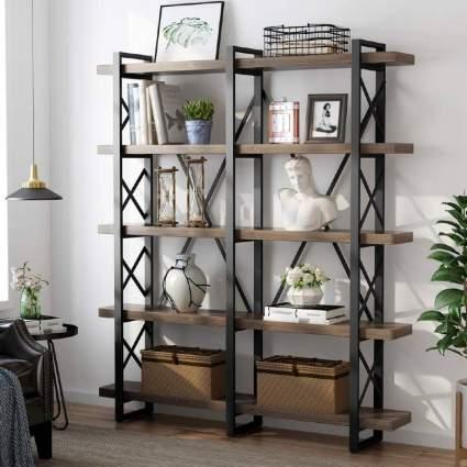 5-Tier Double Wide Open Bookcase
