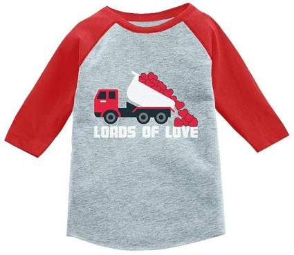 Valentines Day Dump Truck Loads of Love 3/4 Sleeve Baseball Jersey Toddler Shirt