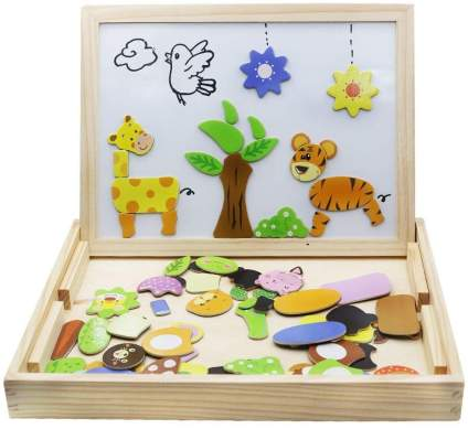 Wooden Toys Magnetic Puzzles Kids Wooden Games