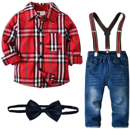 Boys Valentine's Bow Ties & Shirts Set