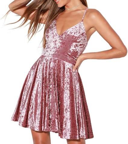 Velvet Spaghetti Strap Valentine Dress