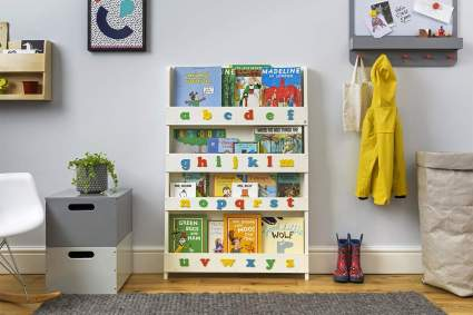 Wall Bookshelf for Kids with 3D Alphabet Color