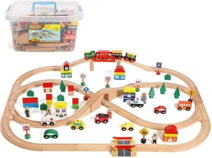 On Track USA 100 Piece All in One Wooden Train Set with Accessories