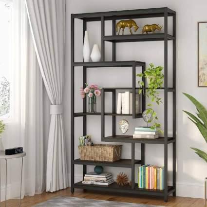 8-Shelves Staggered Bookshelf