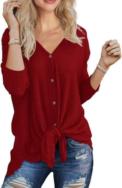 Womens Waffle Knit Tunic Blouse