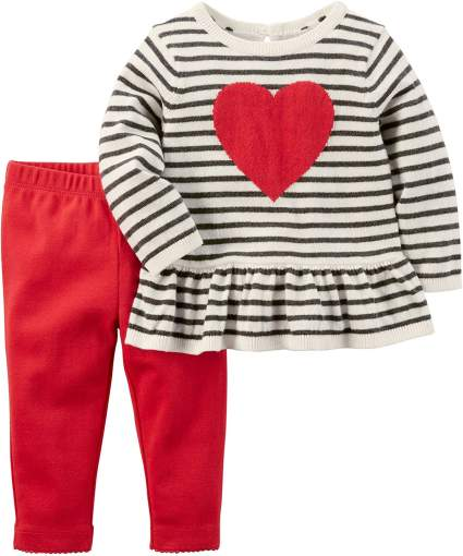 Two-Piece Heart Top & Pant Set