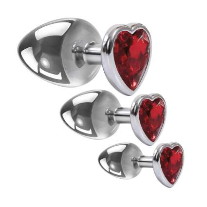 Steel toy plugs with red gemstone hearts