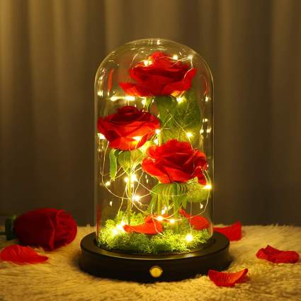 Forever Red Rose in Glass Dome with Gift Box & Card