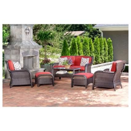 six piece rattan outdoor furniture set