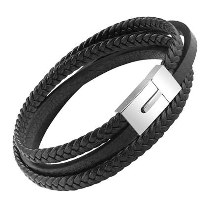men's black leather braided bracelet