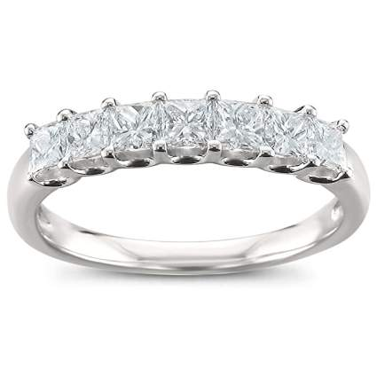 Platinum 7-Stone Princess-Cut Diamond Bridal Wedding Band Ring