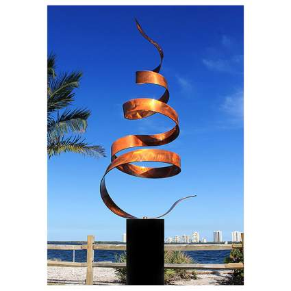 abstract copper garden sculpture