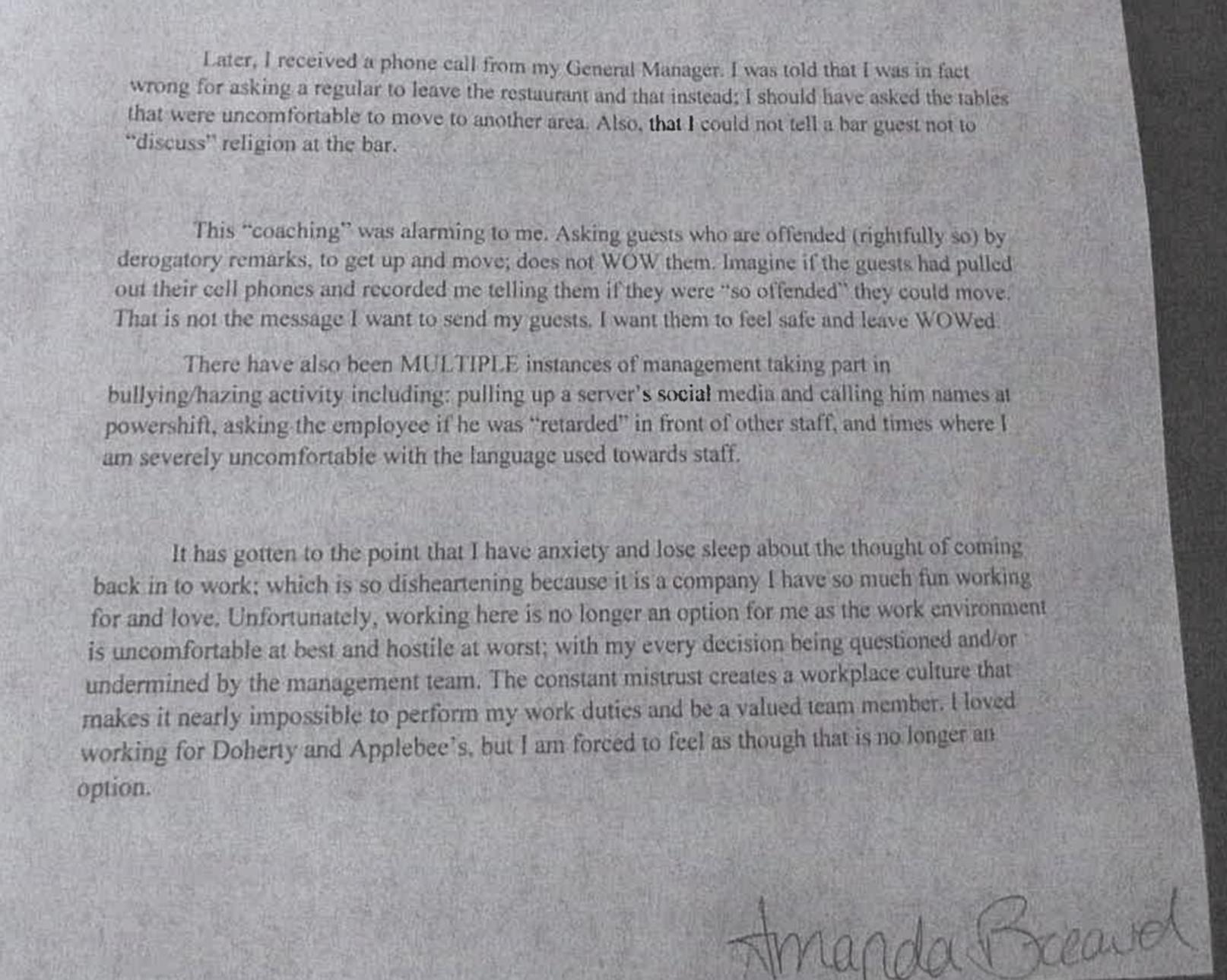 Amanda Breaud letter