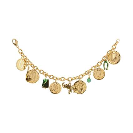 American Coin Treasures Gold Layered Irish Coin Charm Bracelet
