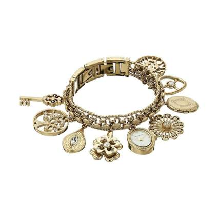 Anne Klein Gold-Tone Charm Bracelet Watch
